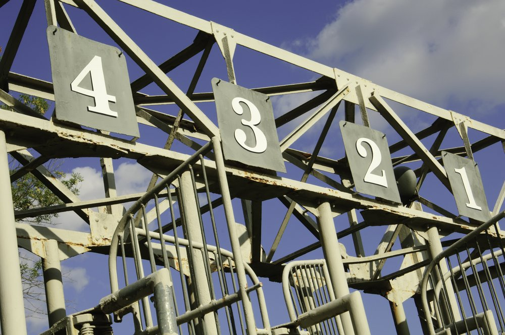 Numbers one through four atop old schooling gate on equestrian training track